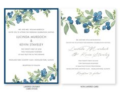 This invitation is printed on white stock, mounted on a navy blue card. The gate fold invitation is closed with a blueberry watercolor belly band tied
