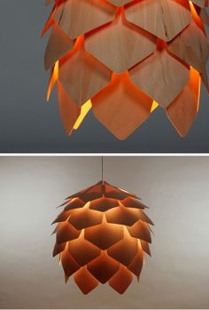 Interior Lighting Design Ideas -A pinecone light made out of real wood veneer. A nice light over a table. Light Art, Lamp Light, Interior Lighting, Lighting Design, Lighting Ideas, Luminaria Diy, Brewery Design, Brewery Decor, Deco Luminaire
