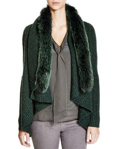 Elie Tahari Nikki Cascade Cardigan with Fur Trim - 100% Bloomingdale's Exclusive | Bloomingdale's