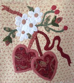 Vintage Valentine Quilt Block appliqued by Janet Beyea. Quilt Block Patterns, Applique Patterns, Applique Quilts, Applique Designs, Quilt Blocks, Shabby Fabrics, Patch Aplique, Hand Applique, Mini Quilts