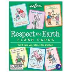 Friendly animals show simple ways to reduce, reuse and recycle with these educational flash cards.