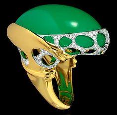 Mousson Atelier New Age Gold Chrysoprase Ring R0137-0/2