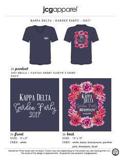 JCG Apparel : Custom Printed Apparel : Kappa Delta Garden Party T-Shirt #kappadelta #kaydee #kd #gardenparty #floral #wreath #handdrawn