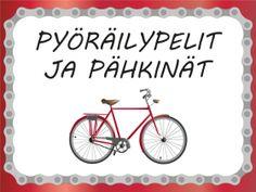 Puhetta pyöräilystä -sivulla on selkeää lukemista, kuvia ja kysymyksiä Physical Education, Special Education, Physics, Bingo, Environment, Bicycle, Science, Teaching, School