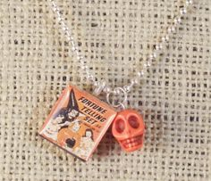 Juliart Halloween Pendant and Orange Skull Necklace by juliart, $14.50