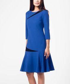 Look at this #zulilyfind! Cobalt & Black Stripe-Accent Shift Dress #zulilyfinds