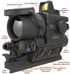 clip on FLIR Thermal Scope is a high def clip on thermal weapon sight with laser pointer. Mil-spec FLIR thermal scope for sniper optics & night vision. Rifles, Armas Wallpaper, Tac Gear, Military Gear, Assault Rifle, Cool Guns, Rifle Scope, Tactical Gear, Sniper Gear