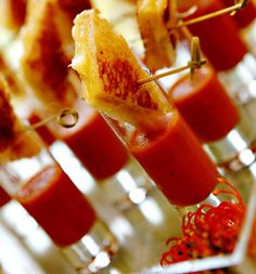 Mini-grilled cheese sandwiches served with tomato soup shooters