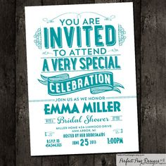 Bridal Shower Invitation  Poster Vintage by PerfectPearDesigns, $18.00