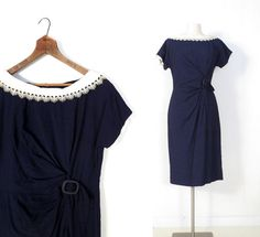 Blue 1950s Dress / Lace Collar Dress / by SmallEarthVintage, $52.00