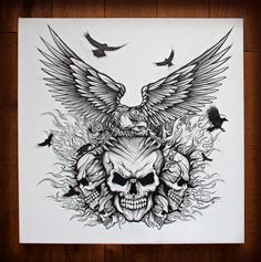 Eagle & skulls, pen and ink drawing on canvas.  hand drawn, lettering, graphic design, illustration,