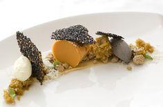 "sweet potato ""pie"" with custard, tuile, crumble, sweet potato cake, black sesame ice cream"
