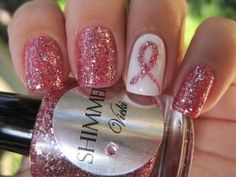 Looking for discount designer fashion? Come visit www.kpopcity.net today!!! Shimmer pink cancer awareness nail design.