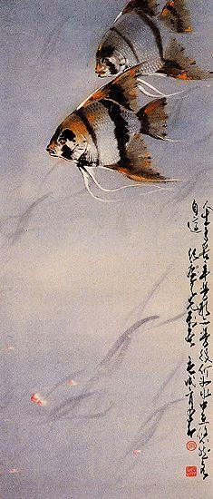 Angel fish - by Chao ShaoAng (1905 - 1998), China. Lingnan School.