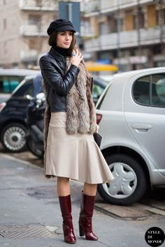 vintage skirt with leather top and patent boots