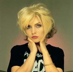 Portrait of singer Debbie Harry wearing an Andy Warhol tee shirt, United States, 1979, photograph by Brian Aris.