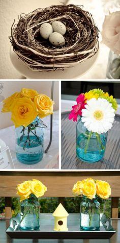 Flowers in adorable vintage mason jars