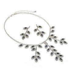 #jeweltweets Silver Montana Rhinestone Leaf Charm Dangle Necklace & Matching Leaf Shape Dangle Earrings Jewelry Set