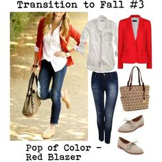 """Red Blazer for Fall"" by bluehydrangea on Polyvore"