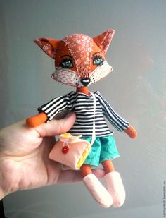 Handmade Dolls Patterns, Doll Patterns, Fox Toys, Handmade Stuffed Animals, Animal Sewing Patterns, Fabric Animals, Fabric Toys, Homemade Toys, Cat Doll