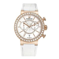 The sparkling Swarovski Citra Sphere Chrono White and Rose Gold Watch adds a glamorous and feminine touch to your outfit. The bezel features 40 clear crystals and the centre of the face is circled in clear crystal pav. The face also features a date window Swarovski Watches, Pandora, Stainless Steel Case, Rose Gold Plates, Quartz Watch, Gold Watch, Chronograph, Swarovski Crystals, Swarovski Jewelry