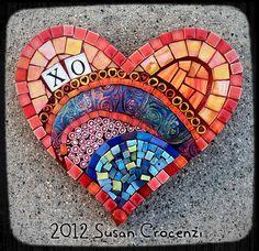 "https://flic.kr/p/dpeetA | XO | Wall-hanging 7 x 7"" Handmade polymer clay tile, millefiore, glass, ceramic, smalti"