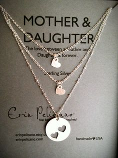 Mother Two Daughters Necklace Set // Inspirational Jewelry // Simple Delicate…