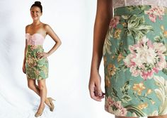 1990s Floral MINI SKIRT High Waisted Extra by LoveologyVintage, $38.00
