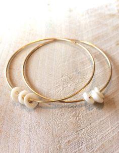Puka Shell Hoop Earrings 14k gf on Etsy, $58.00