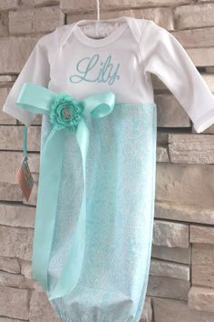 Monogrammed Baby Girl Layette / Gown by PumpkinPieClothing on Etsy, $28.00