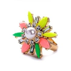 Floral Pearl Ring Gorgeous Floral Pearl Statement Ring  Size: 6.5  Material: Gold-tone Alloy/Rhinestones/Resin  Condition: New  No Trades No Holds No PayPal 15% Off Bundles Jewelry Rings