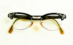 1950s Black and Silver Cat Eye Browline Glasses