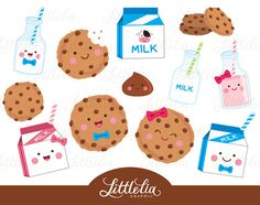Milk and cookies clipart  kawaii food clipart  by LittleLiaGraphic