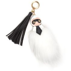 Mini Me Faux Fur Keychain WHITEMULTI (12 CAD) ❤ liked on Polyvore featuring accessories, white, star key ring, ring key chain, key chain rings, keychain key ring and leather tassel key ring