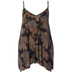 Plus Size Women's Evans Dotty Floral Handkerchief Hem Camisole ($39) ❤ liked on Polyvore featuring intimates, camis, black, plus size, polka dot camisole, floral print cami, floral camisole, polka dot cami and plus size camisoles