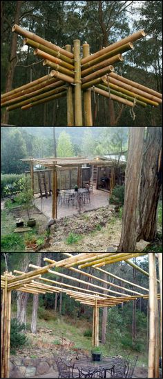 This is an example of a bamboo pergola built without the use of traditional…