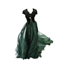 Tumblr ❤ liked on Polyvore featuring gowns, dresses, long dress and green