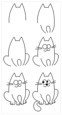 14 Fantastic Ideas To Help Your Children Learn To Draw - All children love drawing and painting, but many of them struggle to make progress in this area whi - Cute Easy Drawings, Art Drawings For Kids, Love Drawings, Drawing For Kids, Animal Drawings, Art For Kids, Learn Drawing, Easy Cat Drawing, Cat Cartoon Drawing