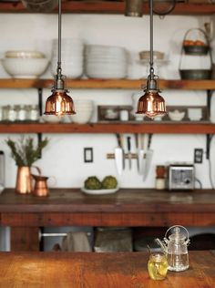 Rejuvenation Summerize Sweepstakes: Copper Dome Metal Shades in multiples help brighten the kitchen island  woobox.com/u9px66