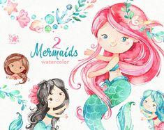 Mermaids 2. Watercolor clipart sea girls magic fairytale