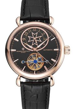 Luxury Replica Vacheron Constantin Traditionnelle Tourbillon Mens Watch with Automatic Movement, Black Dial, Rose-Gold Plated Round Case with Sapphire Glass and Black Leather Strap