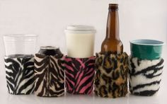 Beverage Insulator CUP SIZE for Cold/Hot Drinks-Faux Fur Zebra & Leopard Pocket Huggie-Handmade,Reusable,Solo Cups,Coffee,Beer,Soda, Folds