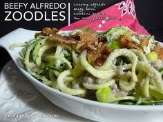 Beefy Alfredo Zoodles from Fluffy Chix Cook are low carb & gluten free. Keto-liciously delicious!