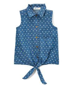 Indigo Polka Dot Denim Button-Up Top - Toddler & Girls