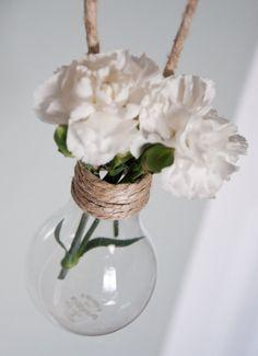 Conjunto de 18 colgante bombilla floreros con yute natural y ganchos
