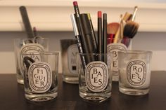 LOVE this idea - after enjoying Diptyque Candles (Baies is my favorite), use the empty holder as a vase for flowers, cute pencil holder, or even for makeup brushes!