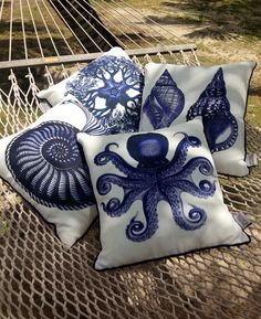 Marine Life Pillows style to perfection by @India Hicks  on her hammock.