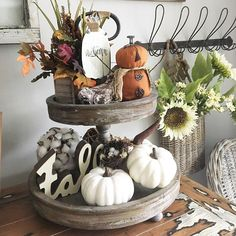 """From Fall, 🍁 to Halloween, 🎃 to maybe Fall again, 🍂 then Christmas,🎄 & the list goes on and on!! Whatever you choose to do, these trays make theeee best displays for your fun stuff! Now in stock, but limited quantity so if you've been wanting to join the """"tray club"""" nows the time to add this fan favorite to your home decor must haves 😃🙌🏻 😍 Stop in and we'll be happy to help you give a tray some love ❤️❤️ Open 9-5 today! . . . #tieredtray #traydecor #fall #autumn #christmas #holiday… Decor Crafts, Home Crafts, Building A Home Bar, Home Bar Decor, Rustic Fall Decor, Halloween Decorations, Holiday Decorations, Halloween Ideas, Tiered Stand"""