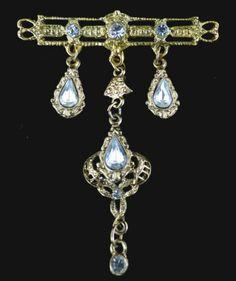 Vintage Brooch Gold Tone Bar Pin Elegant Rhinestone Dangles   eBay