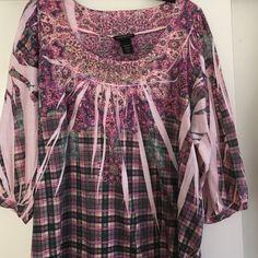 Pink plaid shirt with neckline sparkles Pink plaid shirt Lane Bryant Tops Blouses
